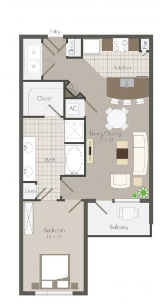 718 sq. ft. Chandler floor plan