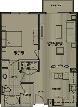 759 sq. ft. A2 floor plan