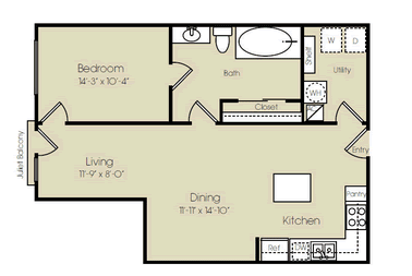 853 sq. ft. Carnegie Hall floor plan