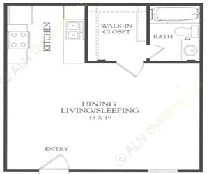 480 sq. ft. A floor plan