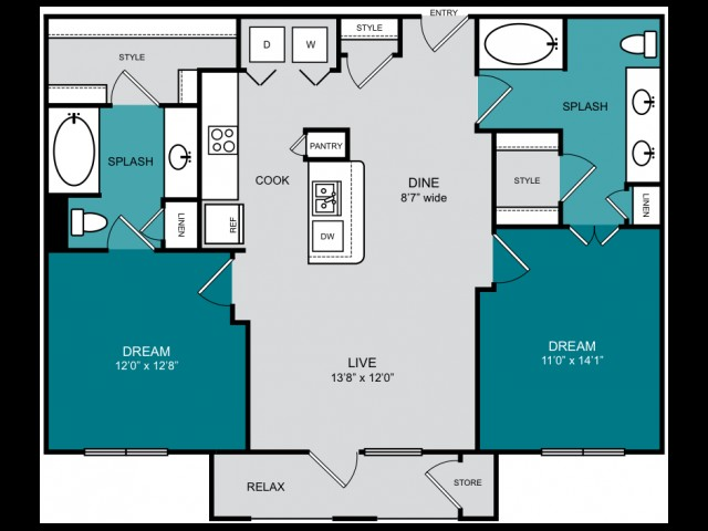 1,062 sq. ft. B2-2 HORIZON floor plan