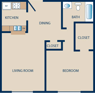 700 sq. ft. to 800 sq. ft. B floor plan