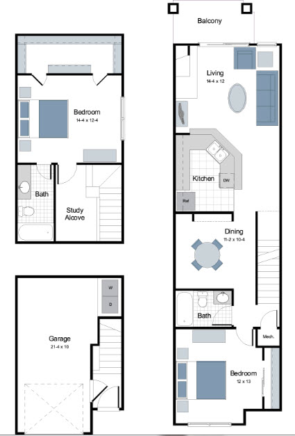 1,216 sq. ft. B2 floor plan