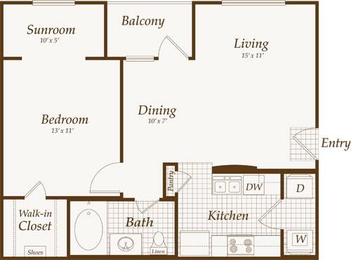 689 sq. ft. MEDITERRANEAN floor plan