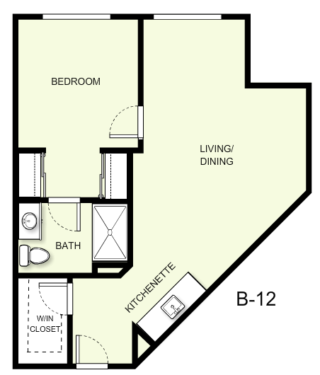 649 sq. ft. B12 floor plan