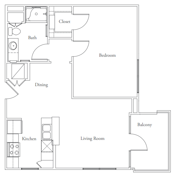 723 sq. ft. to 768 sq. ft. Capitol floor plan