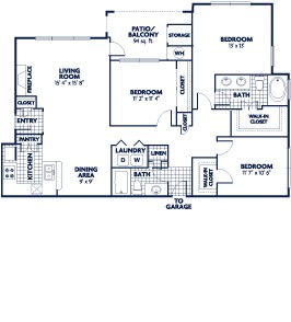 1,368 sq. ft. C2 floor plan