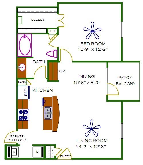 775 sq. ft. to 785 sq. ft. Claremont floor plan
