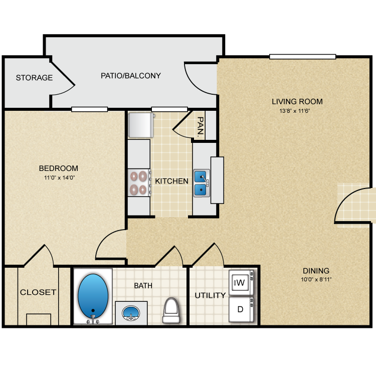 753 sq. ft. A6 floor plan