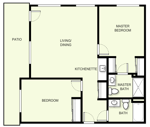 967 sq. ft. C2 floor plan