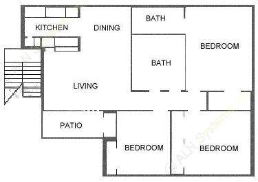 1,128 sq. ft. E floor plan