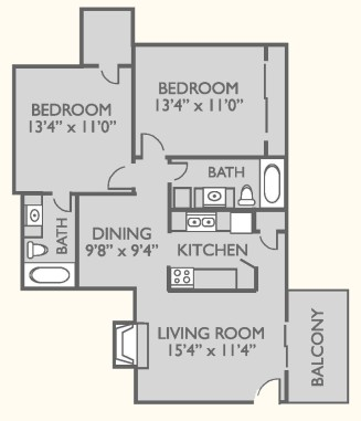 920 sq. ft. B-2 floor plan