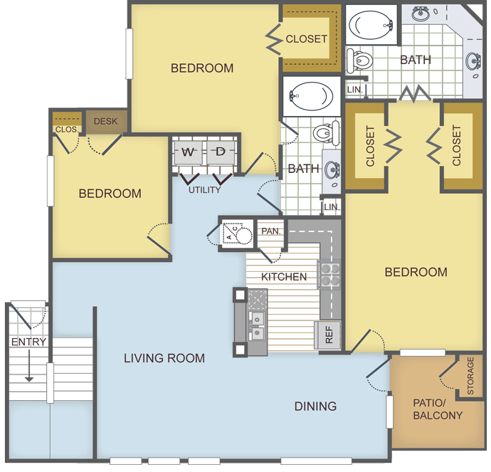 1,458 sq. ft. POPLAR floor plan