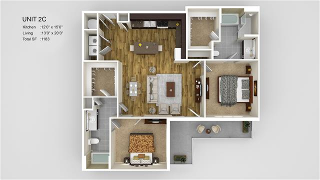 1,183 sq. ft. 2C floor plan