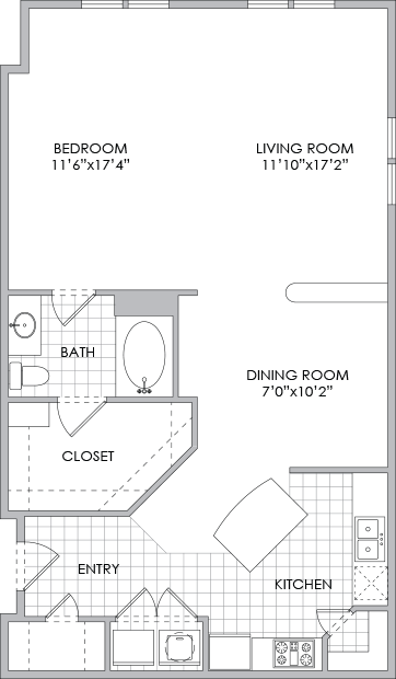 1,013 sq. ft. A7 floor plan