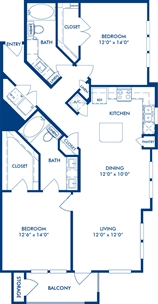 1,219 sq. ft. B1C floor plan