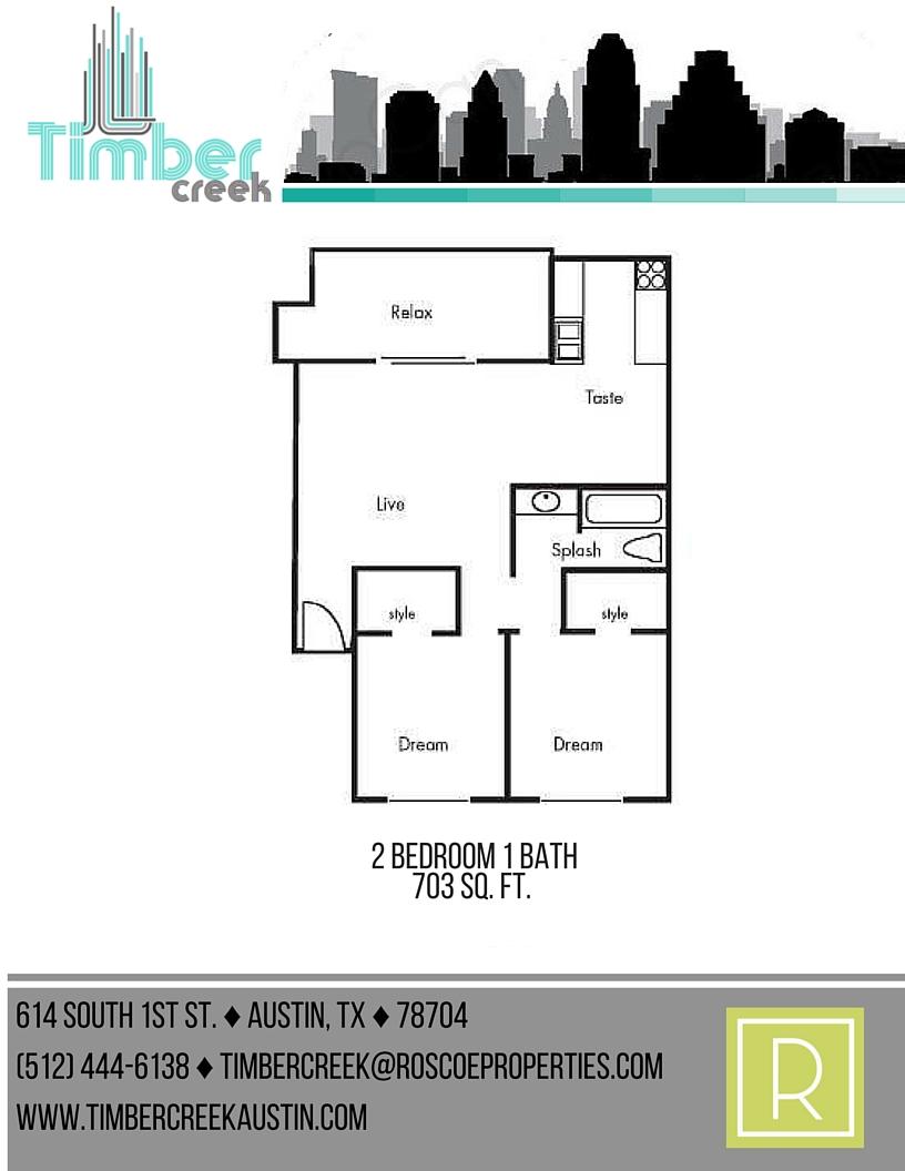 703 sq. ft. B1 floor plan