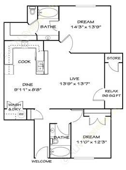 1,122 sq. ft. B4/B4G floor plan