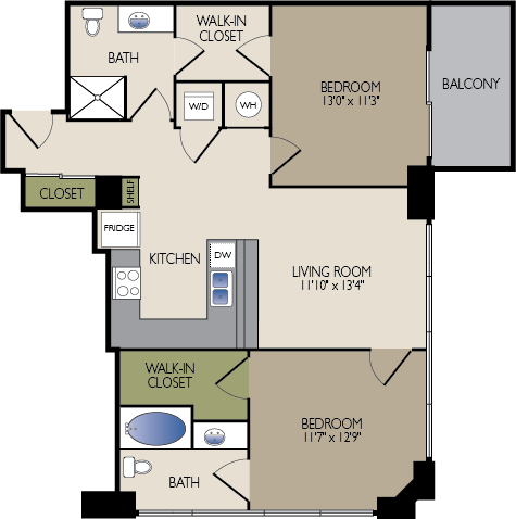 991 sq. ft. A floor plan