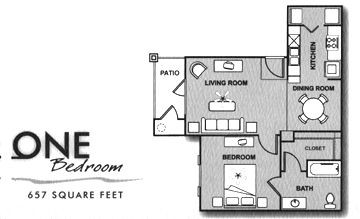 657 sq. ft. A/60% floor plan