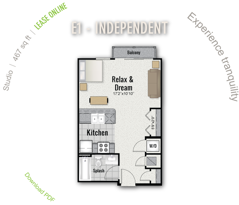 467 sq. ft. E1 floor plan