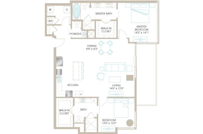 1,490 sq. ft. C8a floor plan