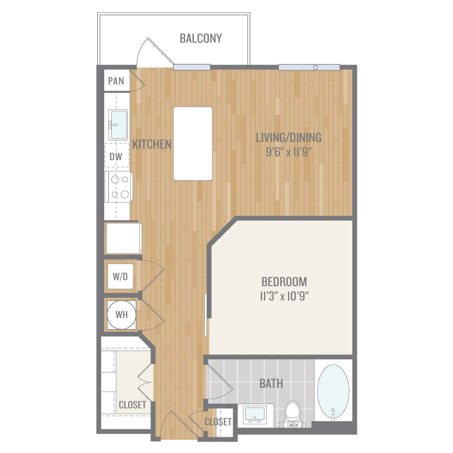 634 sq. ft. E1 floor plan