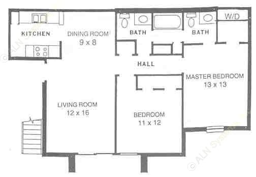 927 sq. ft. B1 floor plan