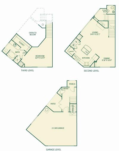 1,382 sq. ft. A1 floor plan