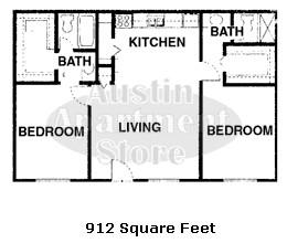 912 sq. ft. 50% floor plan