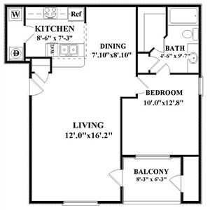 825 sq. ft. Ashport-A3 floor plan