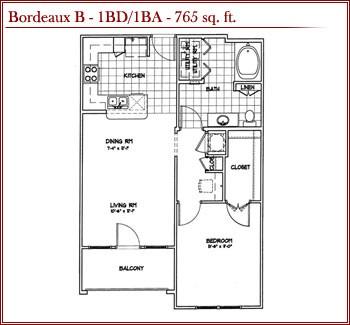 762 sq. ft. BORDEAUX B floor plan