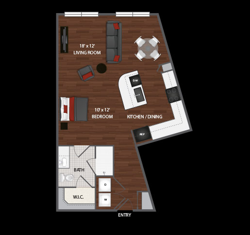 696 sq. ft. Coco floor plan