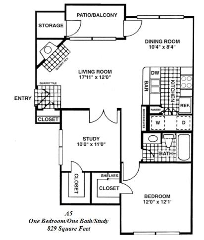 829 sq. ft. A5 floor plan