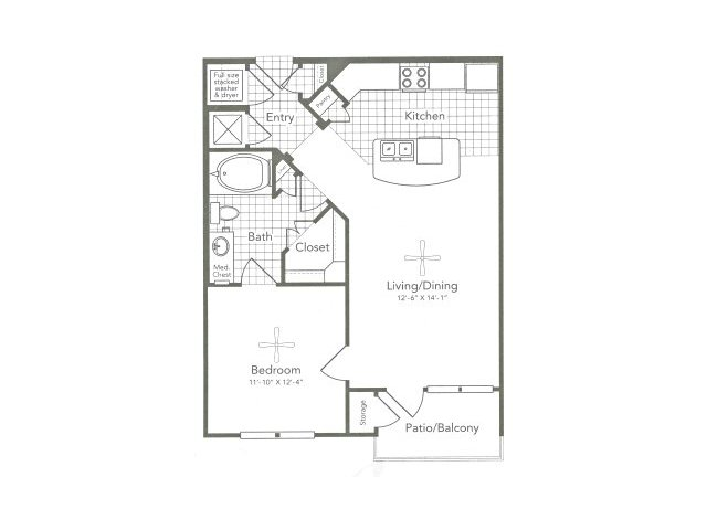 709 sq. ft. A1 West floor plan