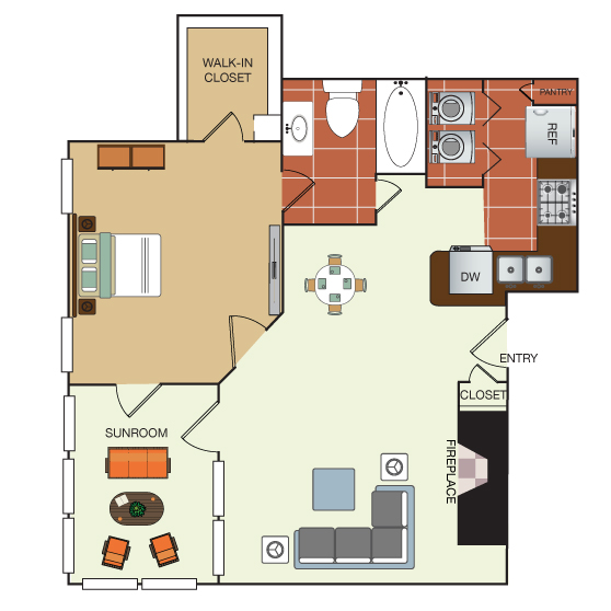 701 sq. ft. 1G floor plan