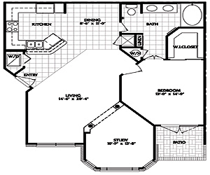965 sq. ft. A2 floor plan