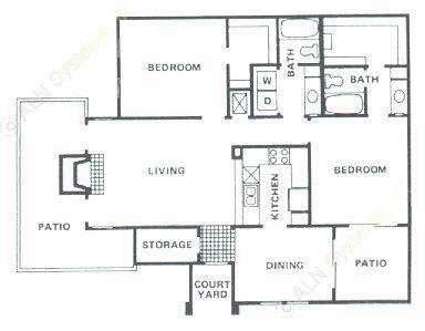 1,211 sq. ft. B3 floor plan