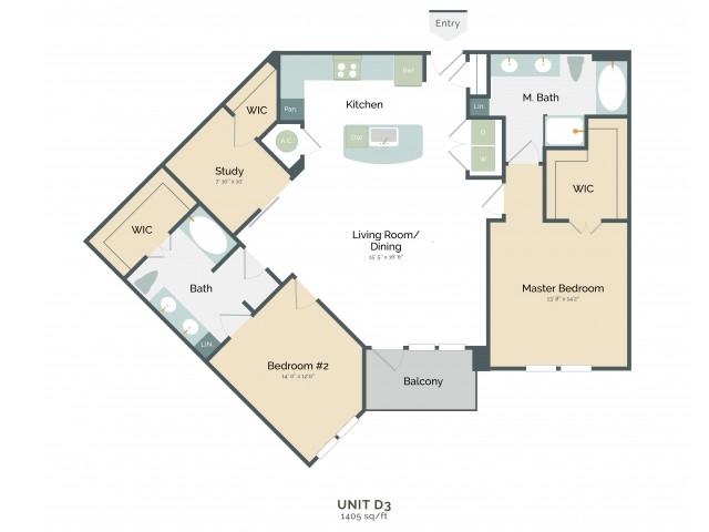 1,405 sq. ft. D3 floor plan