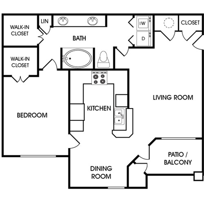 835 sq. ft. A3 floor plan