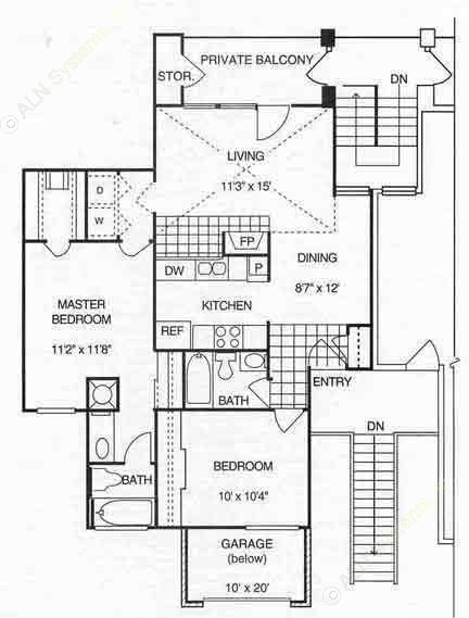 946 sq. ft. B1 w/Gar 2nd Flr floor plan