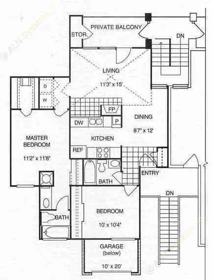 946 sq. ft. B1 w/Gar 2nd Flr floor plan