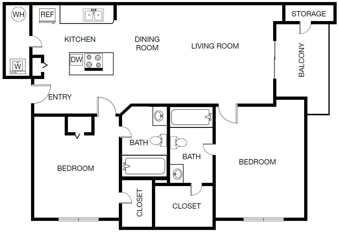 949 sq. ft. Milan floor plan