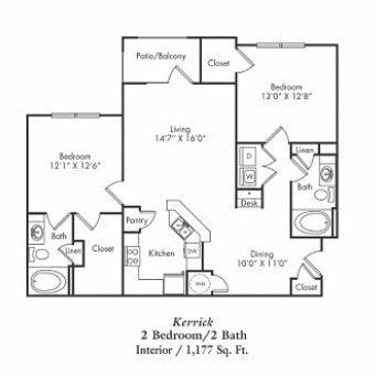 1,177 sq. ft. B1-g floor plan