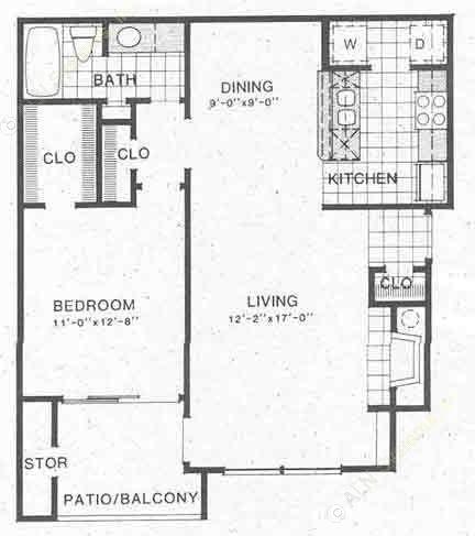 809 sq. ft. A3 floor plan