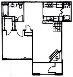 751 sq. ft. A4 floor plan