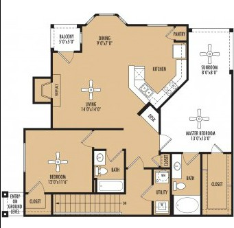 1,326 sq. ft. Tempo c floor plan