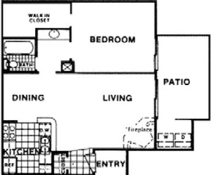 636 sq. ft. C floor plan