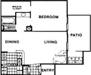 636 sq. ft. C floor plan