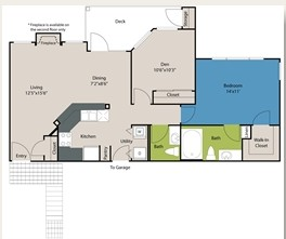 1,081 sq. ft. A3A floor plan
